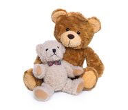 Toy plush teddy bear isolated: mother with baby. Stock Photography
