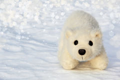 Toy polar bear cub in the Arctic. Wilderness stock photo