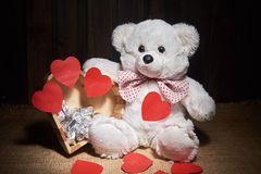 Bear and Valentine`s Day Stock Images