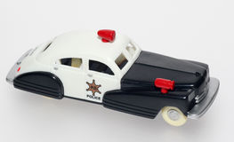 Toy Police Car in 1940's 1950's style. Picture of a plastic Police car in 1940's to 1950's style. Size 1:43 Royalty Free Stock Photos