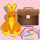 Toy, portfolio and color pencils Royalty Free Stock Images