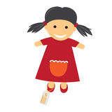 Toy with Price Icon. Illustration of Doll in Dress. Stock Photography