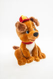 Toy puppy. Toy teddy puppy in the cap stock photography