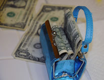 Toy purse real money Stock Images