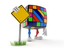 Toy puzzle character with blank road sign. Isolated on white background. 3d illustration Royalty Free Stock Image