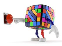 Toy puzzle character pushing a button. Isolated on white background. 3d illustration Royalty Free Stock Images