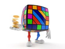 Toy puzzle character with stack of coins. Isolated on white background. 3d illustration vector illustration