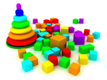 Toy pyramid over white background Royalty Free Stock Image