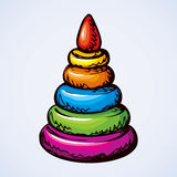 Toy pyramid from rings. Vector drawing Royalty Free Stock Image