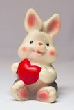 Toy rabbit with heart Stock Photos