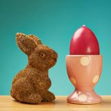 Toy rabbit next to an egg holder Stock Images