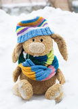 Toy rabbit in the snow Royalty Free Stock Image