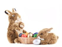 Toy rabbits with a basket of Easter eggs. Stock Photo