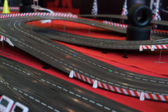 Toy race track. Closeup of a toy race track stock images