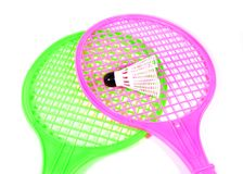 Toy racket with shuttlecock ball Royalty Free Stock Photography