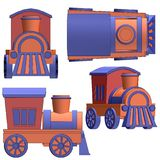 Toy train with black outlines Royalty Free Stock Image