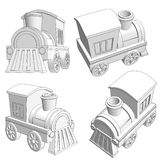 Toy train with black outlines Royalty Free Stock Images