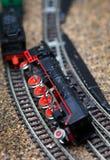 Toy railroad train crash Stock Photos
