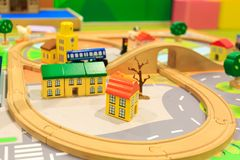 Toy Railway Structure for Children to Play at School stock photos