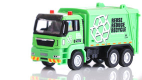 Toy - Recycle Truck. Green toy recycle truck in white Stock Photography