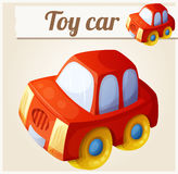Toy red car. Cartoon vector illustration Stock Photography