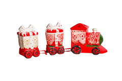 Toy red christmas train isolated Royalty Free Stock Photos