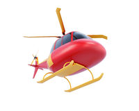 Toy red helicopter isolated on white background. Bottom view. 3d Stock Photos