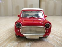 Toy red metal car model Royalty Free Stock Images