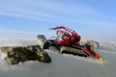 Toy ratrak in the snow. Stock Photography