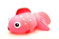 Toy Red Rubber Fish. A bathroom toy made of rubber material Stock Photos