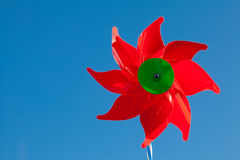 Toy red windmill Royalty Free Stock Photos