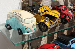 Toy retro cars in shop Stock Photos
