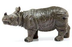 Toy Rhino, Rhinoceros unicornis. On white background Stock Photo
