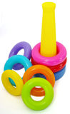 Toy rings. A brightly coloured stack of toy plastic rings Royalty Free Stock Photo