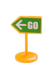 Toy road sign close up Stock Image