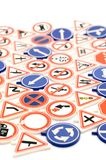 Toy road sign close up Stock Images