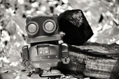 Toy robot black and white picture stock images
