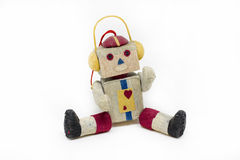 Toy Robot Christmas Tree Ornament isolou-se no branco Foto de Stock