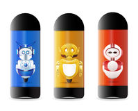 Toy robot inside tubebox Stock Image