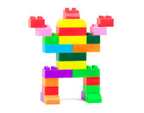 Toy robot. Made from colorful building blocks Stock Photo