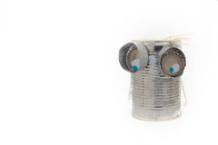Toy robot made of tin can on pure white background Royalty Free Stock Photography