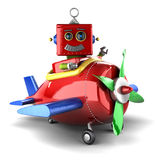 Toy robot in plane Stock Photos