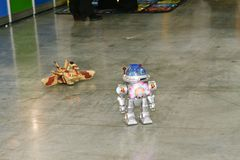 Toy robot and a tank transformer on the RC Stock Photo
