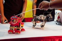The toy robots in chinese new year celebration Royalty Free Stock Images