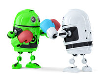 Toy Robots Fighting. Isolated. Contains Clipping Path Stock Images