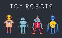 Toy robots set. Robot vector collection - vintage style toy robots illustration set royalty free illustration