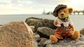 Toy on Rock by Sea Against Sky Stock Photo