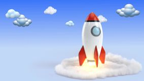 Toy Rocket Blast Off with cloudy Sky 4K