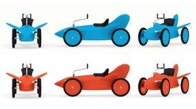 Toy rocket-car collection Stock Photos