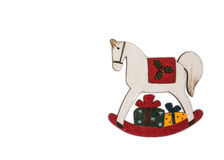 Toy rocking horse Christmas decoration. Royalty Free Stock Photography